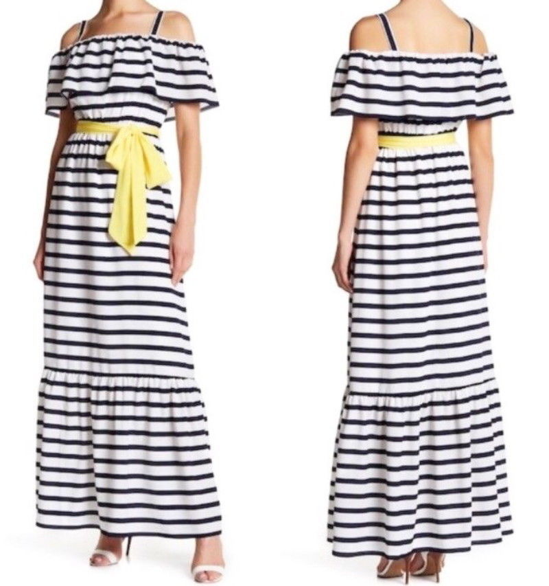 Primary image for $178 Eliza J We Love Stripes Maxi Dress 8 Medium Ivory Navy Lined Cheerful NWT
