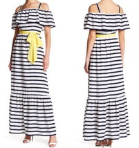 $178 Eliza J We Love Stripes Maxi Dress 8 Medium Ivory Navy Lined Cheerf... - $82.74