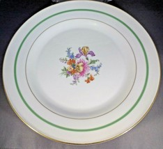 Bavarian China 4 Dinner Plates Tirschenreuth - Gold Green Band Floral Ce... - $8.91