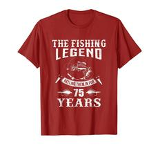 New Shirt -  Fishing Legend 75th Birthday Gifts Shirt for Fisherman Men image 2