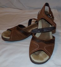 Merrell Womens Brown Leather Sandals 6 Luxe Strap Bagpipe Shoes - $27.95
