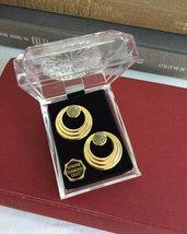 Earrings Diamond Dust Posts 1950s Retro Gold Hoops Lucite Box Natural Diamonds - $30.00