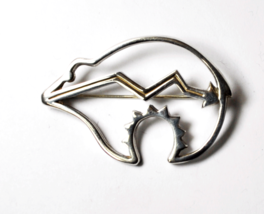 Sterling Silver Belinda Woody Outline Cutout Lightning Bolt Brooch Pin 1... - $35.63