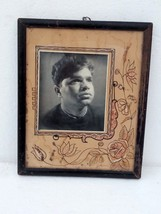 Vintage India Man Black and White Photo With Flower Painting With Wooden... - $79.48