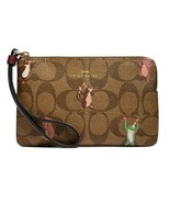 NWT COACH Corner Zip Wristlet Party Mouse Animal Print Khaki Gold Pink F... - $40.00