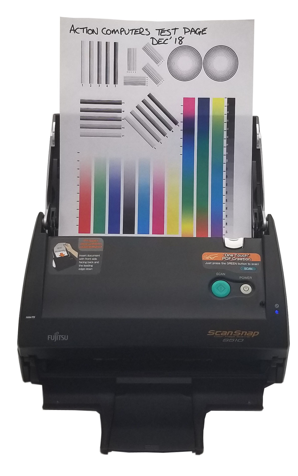 Fujitsu One Touch Scan Snap Color Scanner S510 With A/C Adapter and USB Bin:9