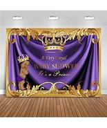 Mehofoto Royal Purple Prince Baby Shower Backdrop Purple Gold Crown Baby... - $21.80