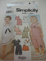 Children's shorts top shirt Simplicity 5982 cut pattern Size A 1/2 1, 2,... - $9.89
