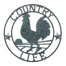 """*18362B  Galvanized 24"""" Round Rooster Country Life Art Sclupture Wall Decor - $29.65"""