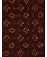 Quilt Fabric, Per Yard, Brown, Orange, Novelty, Mod Flowers, Dark Tone, ... - $3.93