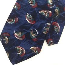 ZYLOS GEORGE MACHADO ABSTRACT NAVY BLUE Green Red Silk Men Necktie I3-51... - $13.85