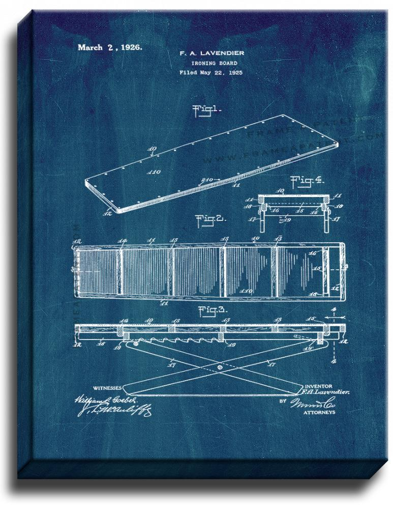 Primary image for Ironing Board Patent Print Midnight Blue on Canvas