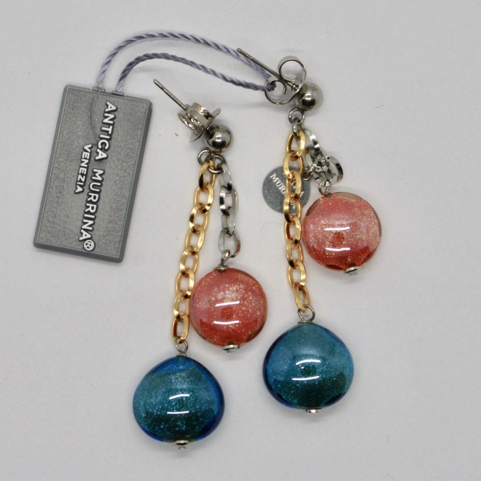 EARRINGS ANTICA MURRINA VENEZIA WITH MURANO GLASS ORANGE AND BLUE OR590A19
