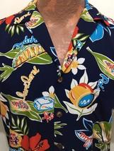 Hilo Hattie Mens S Navy Blue Rayon Hawaiian Shirt Pineapple Laulau Poke Poi - $41.65