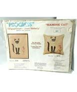 SIAMESE CAT PILLOW Progress Crewel Stitchery by Tobin Embroidery Kit #25... - $34.60