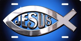 Jesus Fish Ichthys Christian Symbol Blue Color License Plate Metal Sign NEW - $18.05