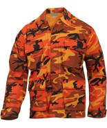Mens Orange Camouflage Military BDU Shirt Tactical Uniform Army Coat Fat... - $27.99+