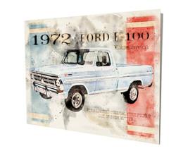 1972 Ford F-100 Blue Pickup Truck Art Design 16x20 Aluminum Wall Art - $59.35