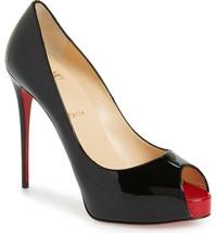 Christian Louboutin Prive Peep Toe Pumps Shoes Black Patent Leather 37.5 - $379.99