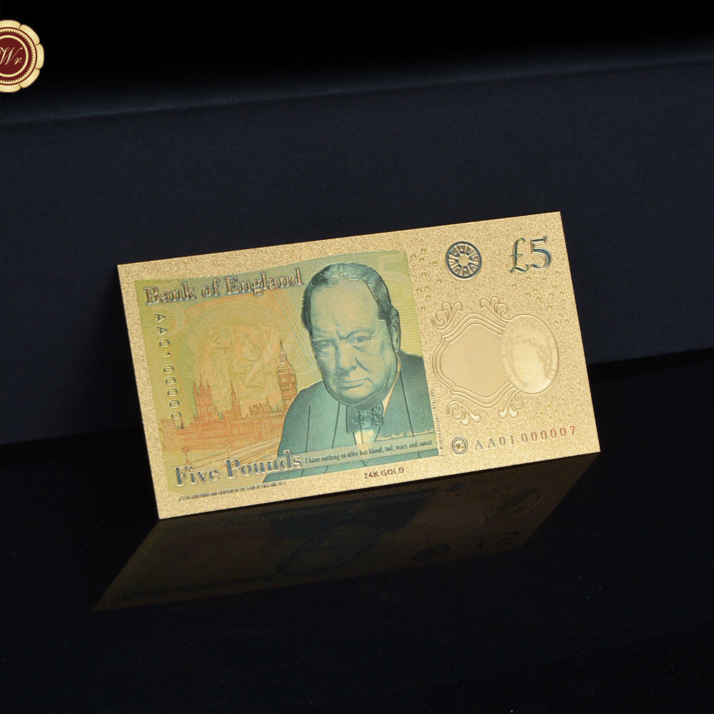 WR Set of Color Gold UK Banknotes 5 Pound - 50 Pounds British Polymer Note Gifts image 3