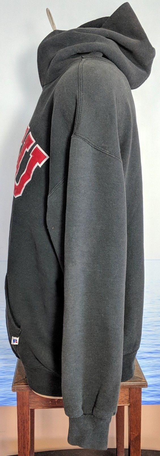 Vtg 90 Russell SDSU Stitched XL Hoodie Pullover Sweatshirt Charcoal Gray Men USA