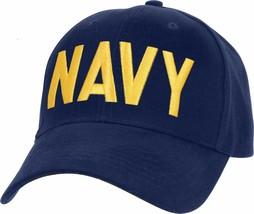 Navy Blue / Gold US Navy Hat Adjustable USN Embroidered Military Basebal... - $10.99