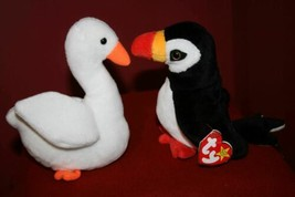 2 Pc Ty Beanie Babies 1997 PUFFER the Puffin Bird + 1996 GRACIE the Swan... - $10.22