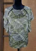 Michael Kors women M short sleeve batwings dolman striped leaf print - $24.75