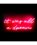 "New It Was All A Dream Neon Sign Pink Decor Room Acrylic Light Gift 24""x9"" - $168.29"