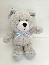 Koala Baby Grey Teddy Bear Plush Stuffed Animal Blue Bow Ribbon Hanging - $17.80