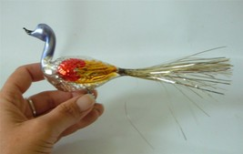 Vintage Mercury Glass Clip On Bird Xmas Ornament Colorful Silver Tinsel Tail - $24.74