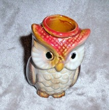 SWEET Ceramic OWL TOOTHPICK HOLDER Tan Brown Red Woodland Nature FALL Au... - $12.95