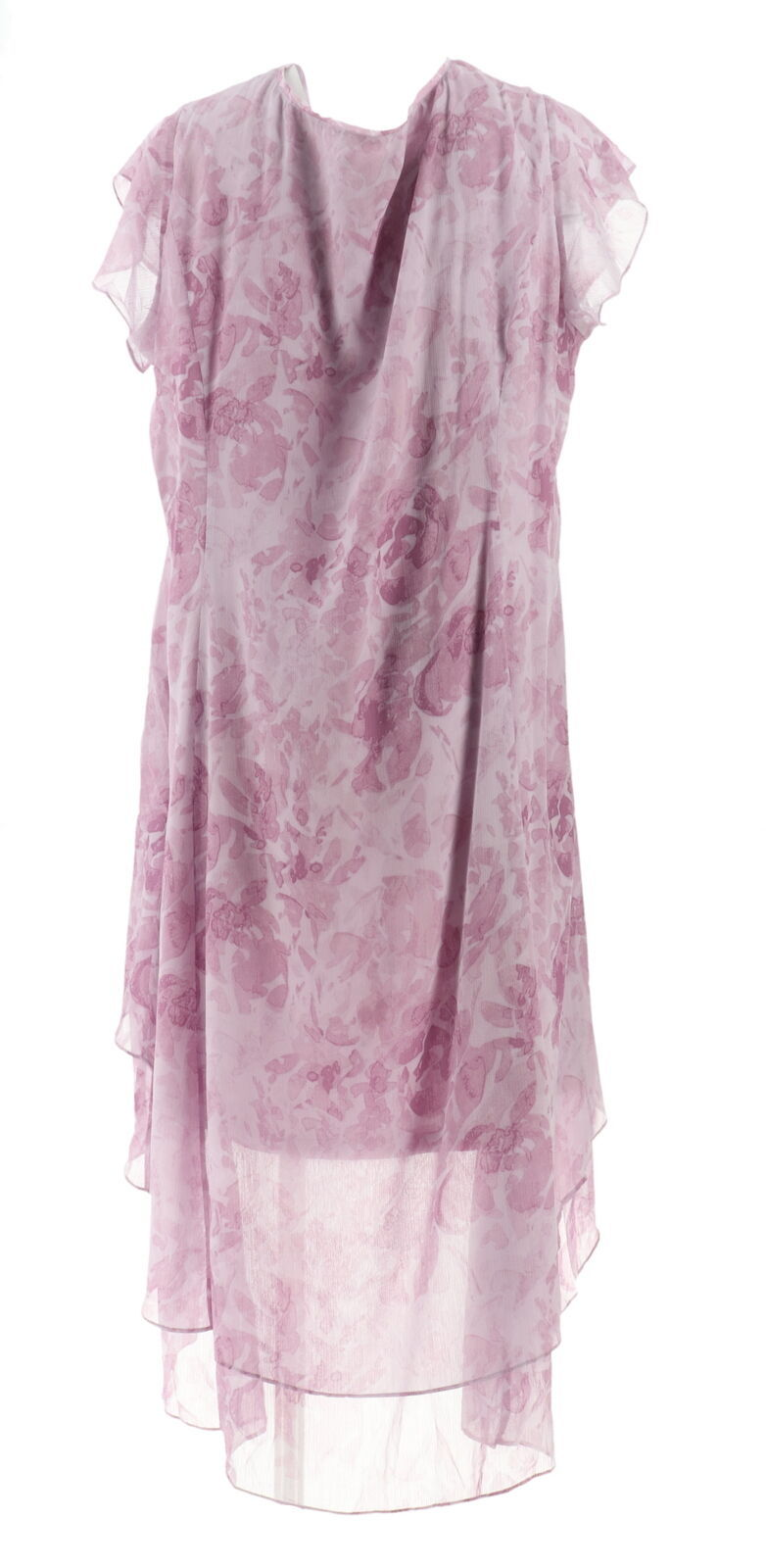 H Halston Petite Rose Print Cap Slv Hi-Low Dress French Lilac 24P NEW A303199 image 3