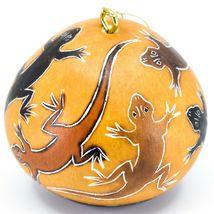 Handcrafted Carved Gourd Art Lizard Gecko Design Ornament Made in Peru image 4