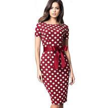 Women's Retro Polka Dot Short Sleeve Belted Wear To Work Dress image 4