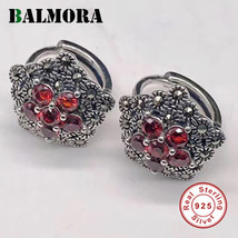 BALMORA 100% Real 925 Sterling Silver Red Garnet Clip Earrings for Women... - $20.26