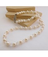 Retro Vintage White Faux Pearl Clear Crystal Bead Choker Necklace B35 - $14.44
