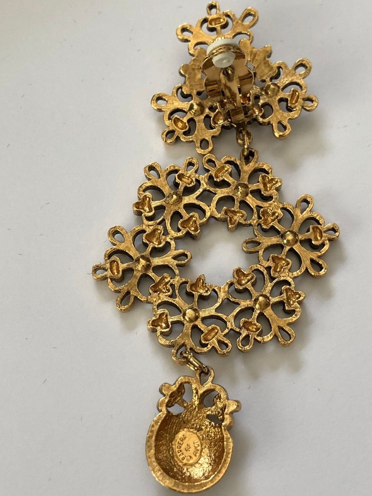Jose' Maria Barrera for Avon Clip-On Dramatic Gold/Sparkly Chandelier Earrings