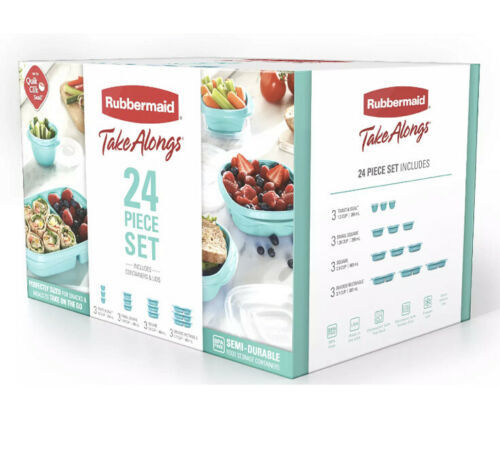 Primary image for Rubbermaid TakeAlongs Meal Prep 24- Piece Food Storage Containers, Teal