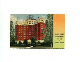 Park Lane Apartment Hotel Denver Colorado linen Curt Teich sample postcard - $6.44
