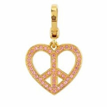 Juicy Couture Charm Heart Pink Pave Peace Sign Goldtone NEW - $61.38