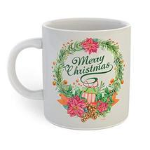 Merry Christmas Wreath Coffee Mug - $12.38