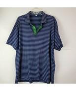 Peter Millar Mens Cotton XL Stretch Short Sleeve Polo Shirt Blue White S... - $25.72