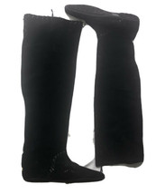 Jimmy Choo Whitby Black Waxed Suede Flat Knee Over The Knee Boots EU 37 US 7 - $215.01