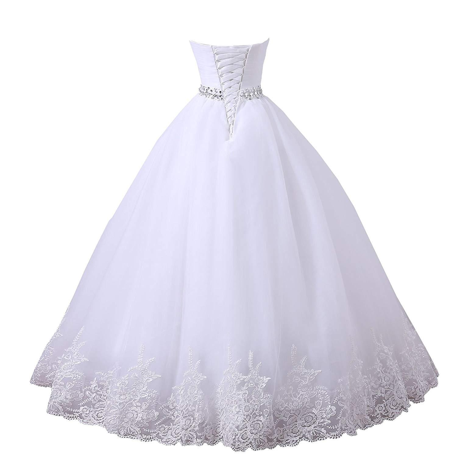 Sweetheart Tulle Lace Applique Wedding Dresses Beaded Bridal Dress Ball Gowns