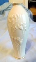 "China Vase LENOX Ivory Flower Motif Gold Trim 7"" - $25.99"