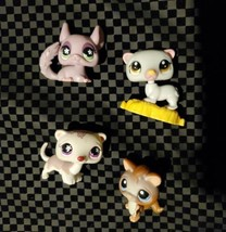 LOT OF 4 Littlest Pet Shop 749 Ferret Purple Flower Eyes Squirrel Chinchilla  - $24.75