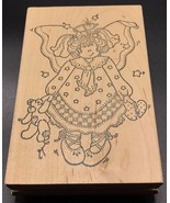 Angel Doll & Teddy Bear Wood Mounted Rubber Stamp Darcies Country Folk N... - $13.99