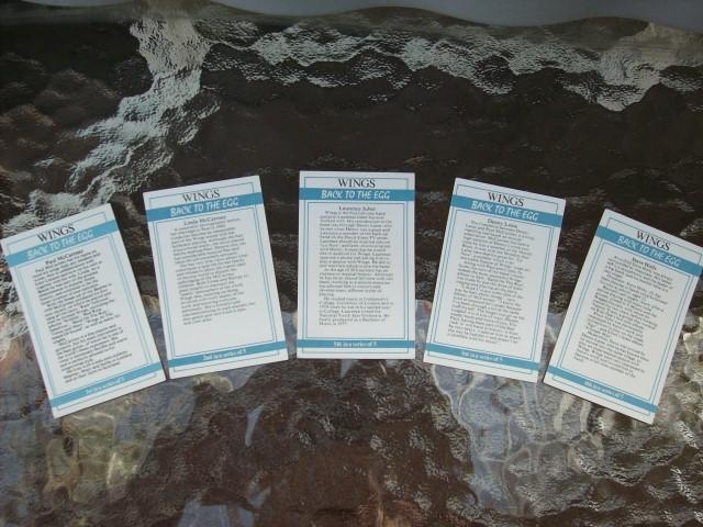 "PAUL McCARTNEY & WINGS ""BACK TO THE EGG"" PROMO 5-CARD SET!"