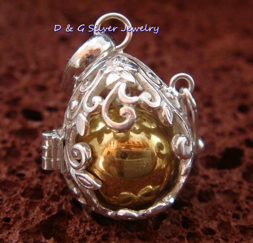 925 Silver Leaf Design  Harmony Ball Pendant HB-324-DG